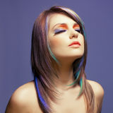 Lady with bright makeup stock image
