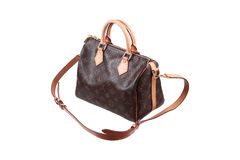 Lady brown handbag isolated on white. It is lady brown handbag isolated on white royalty free stock photo