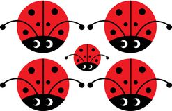 Lady bug with eyes. Five lady bugs with eyes royalty free illustration
