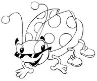 Lady bug line art. Groovy lady bug with glasses and shoes stock illustration
