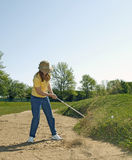 Lady Bunker Blasting Action Stock Images
