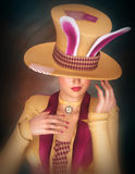 Lady with bunny ear hat Royalty Free Stock Images