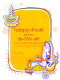 Lady burning diya on Happy Diwal Holiday Sale promotion advertisement background  Royalty Free Stock Images