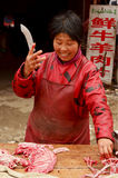 Lady Butcher Cutting Meat, Kaifeng Stock Image