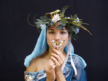 Lady with butterfly blue Royalty Free Stock Photography