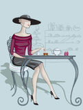 Lady in cafe Stock Photo