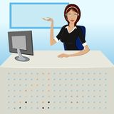 Lady at Call Center Royalty Free Stock Images