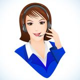 Lady in Call Center. Illustration of lady talking on headphone in call center Royalty Free Stock Photos