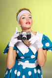 Lady with a camera Stock Photos