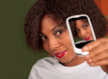 Girl selfie. African American lady taking a selfie stock images