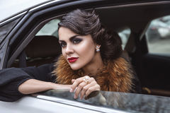 The lady in the car. Stock Photo