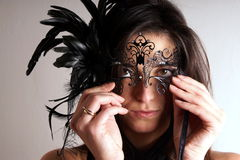 Lady with carnival mask Stock Images