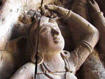 Lady carving at Sanctuary Of Truth. Cracked Lady carving at Sanctuary of Truth Pattaya Thailand Stock Photo