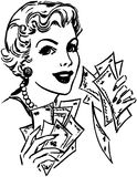 Lady With Cash Royalty Free Stock Photography