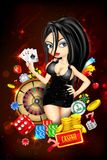 Lady with Casino Card. Illustration of woman with casino playing card stock illustration