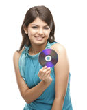 Lady with the cd Royalty Free Stock Image