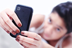 Lady with Cellphone Stock Images