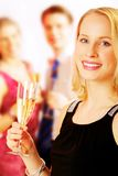 Lady with champagne Stock Image