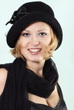 Lady charming with black hat Royalty Free Stock Photography