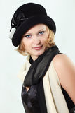 Lady charming with black hat Royalty Free Stock Photo
