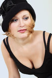 Lady charming with black hat Royalty Free Stock Images