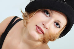 Lady charming with black hat Stock Image