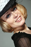 Lady charming with black hat Stock Photos
