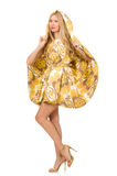 Lady in charming yellow dress isolated on white Royalty Free Stock Photography