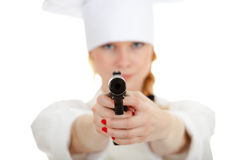 Lady chef with gun Stock Images