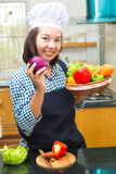 Lady chef preparing ingredient to make salad Royalty Free Stock Photo
