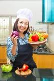 Lady chef preparing ingredient to make salad Stock Photography