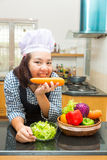 Lady chef preparing ingredient to make salad Royalty Free Stock Photo