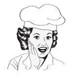 Lady Chef,  retro illustration. In vector format Stock Images