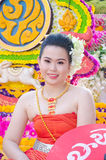 Lady in Chiangmai Flower Festival 36th. Royalty Free Stock Photography