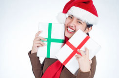 Lady with christmas gifts Stock Photo