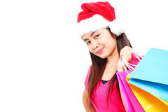 Lady Christmas Shopper Stock Image