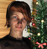 Lady  and Christmas Tree Royalty Free Stock Image