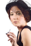Lady with cigarette Stock Image