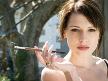 Lady with cigarette Royalty Free Stock Images