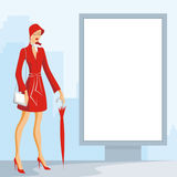 Lady and city lightbox billboard Stock Photography