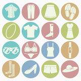 Lady clothes icons set Stock Photo