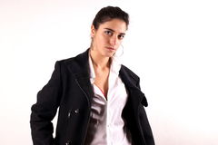 Lady with coat Stock Images