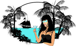Lady with cocktail and palms Royalty Free Stock Photography