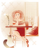 Lady coffee Royalty Free Stock Images