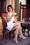 Lady with coffee cup Royalty Free Stock Photos