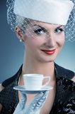 Lady with coffee cup Stock Photos