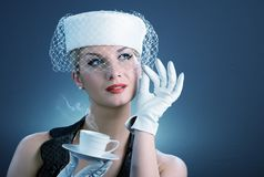 Lady with coffee cup Royalty Free Stock Images