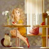 Lady coffee Stock Image