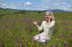 Lady Communicating in Nature Royalty Free Stock Images