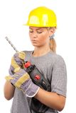 Lady construction worker Stock Image
